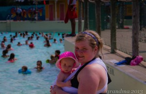 Baby wearing at the pool...even more novel than in church